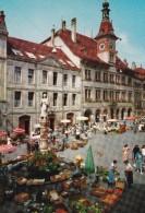 LAUSANNE : Place De La Palud, Hôtel De Ville Et Fontaine De La Justice, Marché Très Animé (marchands Légumes) - VD Vaud