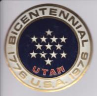 UTAH -BICENTENARIAL USA - CHAPA METALICA ESMALTADA DE COCHE - AÑ0 1950/60 - DIAMETRO 7,5 CMS - Automóviles