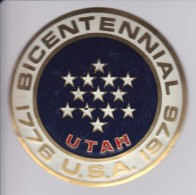 UTAH -BICENTENARIAL USA - CHAPA METALICA ESMALTADA DE COCHE - AÑ0 1950/60 - DIAMETRO 7,5 CMS - Automotive