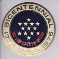 WISCONSIN -BICENTENARIAL USA - CHAPA METALICA ESMALTADA DE COCHE - AÑ0 1950/60 - DIAMETRO 7,5 CMS - Auto's