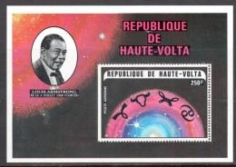 Hte Volta BF 5S ** Louis Armstrong Zodiaque Bélier Taureau Gémeaux Cancer - Haute-Volta (1958-1984)