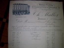 Vieux Papiers A Entete  Facture Manufacture Confection & Lingerie Mallet A Bordeaux Annee 1906 - France