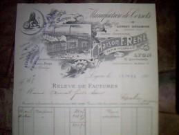 Vieux Papiers A Entete Facture Manufacture De  Corsets Recamier  Maison Réné A Lyon Annee 1904 - Textile & Vestimentaire