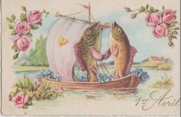 2  Poissons  Amoureux   Dans  Un  Bateau    Plein  Des    Fleurs - 1er Avril - Poisson D'avril
