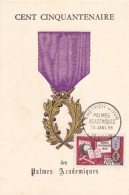 Carte-Maximum FRANCE N° Yvert 1190 (PALMES ACADEMIQUES) Obl Sp 1er Jour (Ed PR) - 1950-59