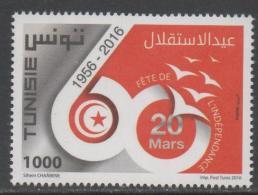 TUNISIA, 2016, MNΗ,INDEPENDENCE ANNIVERSARY, 1v - History