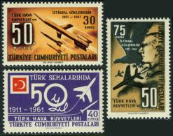 TURKEY 1961 (**) - Mi. 1807-09, 50th Ann.of Turkish Airforce - Ungebraucht