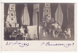 Carte Postale Photo Montage Cadeaux De Noël 1907 - JOUET - Ours - Poupée - Chat - Singe - Cheval - - Photographie