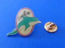 Pin´s Dauphin Bleu - Avec Prénom Caroline - Animal Aquatique Mer (SC5) - Dieren