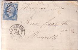 VAUCLUSE - L´ISLE-S-LA-SORGUE - T15 DU 28-10-1865 - EMPIRE N°22 OBLITERATION GC1840 - SANS TEXTE. - Marcophilie (Lettres)