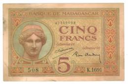 Madagascar , 5 Fr.  1937,  VF+.  Free Ship. To USA. - Madagascar