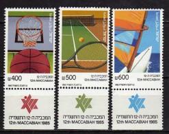 Israel 1985 The 12th Maccabiah Games.sport.Basketball.Tennis.Sailing.MNH - Israël