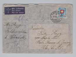 Schweiz 1940-08-20 Flugpostbrief Nach Jersey USA Mit Fr.1.50 Einzelfr.Zu#165z - Schweiz
