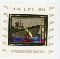 UPU-Bateau-Guinée Equatoriale 1974-MI  B141***MNH-Bloc OR-  Dentelé - Ships