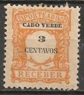 Timbres - Portugal - Cap Vert - 1921 - Taxe - Receber - 3 Reis - - Cap Vert