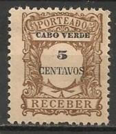 Timbres - Portugal - Cap Vert - 1921 - Taxe - Receber - 5 Reis - - Cap Vert