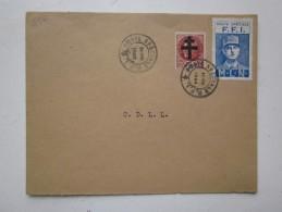 Enveloppe Timbre Libération 1,50 F Petain + Vignette De Gaulle  Poste Spéciale F.F.I-M.L.N. Du 24 Août 1944 - Liberación