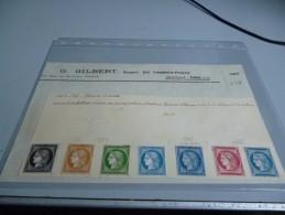 7 ESSAIS  BARRE 1858/1862  SUR DOCUMENT EXPERT G.GILBERT DOCUMENT LOT 224 - Proofs