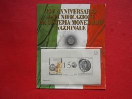 Italia Folder Cartonato 150° Anniversario Sistema Monetario Edito Bolaffi Prezzo Copertina € 10,00 - Folder
