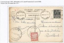 C166 - VICHY Allier  Pour BAILLEUL Nord - 1931 - Taxée Car 6 Mots Au Lieu De 5 - TAXE 30 Ctes N° 33 - - Portomarken