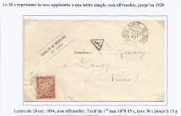 C179 - PARIS 15 Rue Des Saints Peres Pour DOUZY Nièvre - 1894 - Lettre Non Affranchie - TAXE 30 Ctes N° 33 - - Postage Due Covers