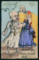 Art Marmonier Marianne Ferdinand Buisson Eglise Pius Pie X Satirique Caricature Politique France Carte Postale Cpa 1900s - Sátiras
