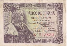 BILLETE DE ESPAÑA DE 1 PTA DEL 15/06/1945 ISABEL LA CATÓLICA SERIE G (BANK NOTE) - 1-2 Pesetas