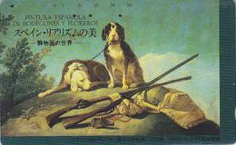 Télécarte Japon / 110-121975 - PEINTURE ESPAGNE - GOYA - CHIEN Chasse Fusil - SPAIN Japan Painting Phonecard DOG 1491 - Peinture