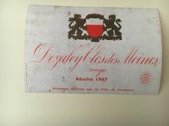 760 - Suisse Dézaley Clos Des Moines  Rouge Ville De Lausanne  1967 - Etiquettes