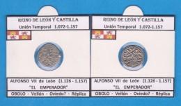 REINO DE LEÓN Y CASTILLA Union Temporal 1.072-1.157  ALFONSO VII De León (1.126 - 1.157) OBOLO Vellón Replica DL-11.767 - Fausses Monnaies