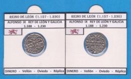 REINO DE LEON Alfonso IX De Leon Y Galicia  DINERO - Vellón Oviedo Réplica T-DL-11.769 - Monedas Falsas