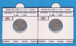 REINO DE LEON Alfonso IX De Leon Y Galicia  DINERO - Vellón Oviedo Réplica T-DL-11.769 - Fausses Monnaies