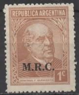 """ARGENTINA 1935 Portraits - 1c. - Brown (Sarmiento) MNG Ministerial """"MRC"""" (Ministerio De Relaciones Exteriores Y Culto) - Service"""