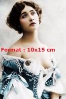 Reproduction D'une Photographie D'un Portrait De Lina Cavalieri Vêtue D'une Robe Bleue Avec Perles - Reproductions