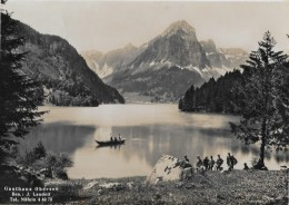 OBERSEE → Viele Wanderer Am See Mit Gastahaus Stempel, Ca.1950 - GL Glaris
