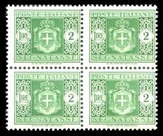 REGNO Luogotenenza 1945 Segnatasse Quartina Lire 2 L. Senza Filigrana MNH ** Integra - 5. 1944-46 Lieutenance & Humbert II:
