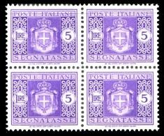 REGNO Luogotenenza 1945 Segnatasse Quartina Lire 5 L. Senza Filigrana MNH ** Integra - 5. 1944-46 Lieutenance & Humbert II: