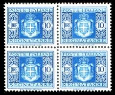 REGNO Luogotenenza 1945 Segnatasse Quartina Lire 10 L. Senza Filigrana MNH ** Integra - 5. 1944-46 Lieutenance & Humbert II: