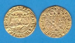REYES CATOLICOS EXCELENTE ORO BURGOS RÉPLICA  DL-11.784 - Fausses Monnaies