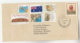 1982 AUSTRALIA  FLOWER Postal STATIONERY UPRATED Multi Stamps FLAG SNAKE SKATEBOARDING KOALA CHRISTMAS To GB Cover - Postal Stationery