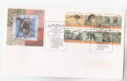 1995 AUSTRALIA Special EVENT COVER PHILATAS Franked BLOCK 6 X WILDLIFE Stamps KOALA BEAR KANGAROO - 1990-99 Elizabeth II