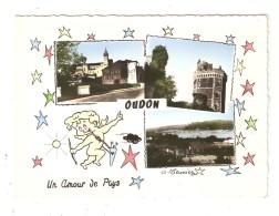 CPA  44 OUDON  Un Amour De Pays Multivues ( 3 ) & Illustration Angelot Avec Arc 1965 - Oudon