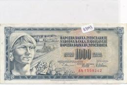 Billets -B2043-  Yougoslavie - 1000 Dinara 1978  ( Type, Nature, Valeur, état... Voir Double Scan) - Yugoslavia