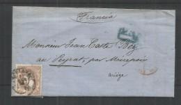 BARCELONA 1870 CC A FRANCIA CON SELLO 12 CUARTOS AL DORSO MAT LARROQUE D´OLMES - 1868-70 Gobierno Provisional