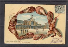 Relief - Gaufrée - Embossed - Prage - Crevettes - La Gare - TBE Précurseur - Boulogne Sur Mer