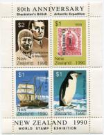 NOUVELLE-ZELANDE BLOC-FEUILLET D´EXPOSITION PHILATELIQUE MONDIALE 80 Th ANNIVERSARY SHACKLETON´S BRITISH ANTARTIC....... - Events & Commemorations