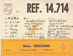 CARTE - RADIO - QSL - PARIS - 8è - - Radio Amateur