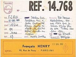 CARTE - RADIO - QSL - PARIS - 16è - - Radio-amateur