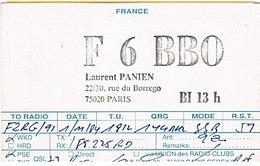 CARTE - RADIO - QSL - PARIS - 20è - - Radio Amateur