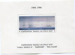 """VIGNETTE EN BLOC-FEUILLET 1984-1986 EXPEDITION """"BASILE AU POLE SUD"""" VOILIERS """"BASILE II"""", """"BARNABE"""", """"BALTAZAR"""" - Events & Commemorations"""